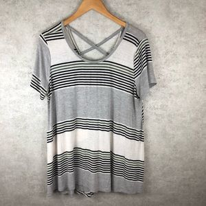 Lush Striped Flowy Cross Back T-Shirt